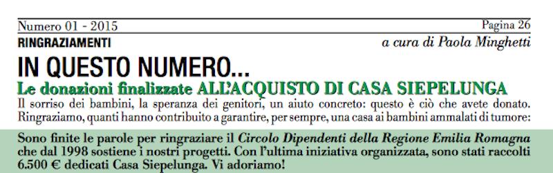 AGEOP, CralRER, casa Siepelunga, Bologna, solidarietà, beneficenza